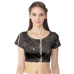Vein Skeleton Of Leaf Short Sleeve Crop Top (Tight Fit)