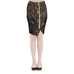 Vein Skeleton Of Leaf Midi Wrap Pencil Skirt
