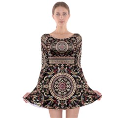 Vectorized Traditional Rug Style Of Traditional Patterns Long Sleeve Skater Dress