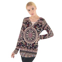 Vectorized Traditional Rug Style Of Traditional Patterns Women s Tie Up Tee