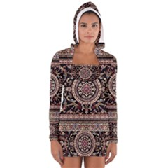 Vectorized Traditional Rug Style Of Traditional Patterns Women s Long Sleeve Hooded T-shirt