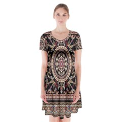 Vectorized Traditional Rug Style Of Traditional Patterns Short Sleeve V-neck Flare Dress