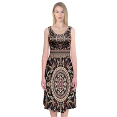 Vectorized Traditional Rug Style Of Traditional Patterns Midi Sleeveless Dress