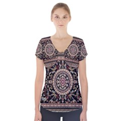 Vectorized Traditional Rug Style Of Traditional Patterns Short Sleeve Front Detail Top