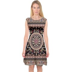 Vectorized Traditional Rug Style Of Traditional Patterns Capsleeve Midi Dress