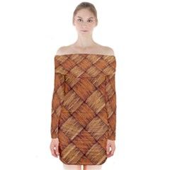 Vector Square Texture Pattern Long Sleeve Off Shoulder Dress
