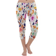 Vector Floral Art Capri Yoga Leggings