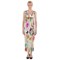 Vector Floral Art Fitted Maxi Dress
