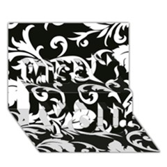 Vector Classicaltr Aditional Black And White Floral Patterns Miss You 3D Greeting Card (7x5)