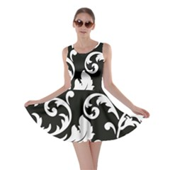 Vector Classicaltr Aditional Black And White Floral Patterns Skater Dress