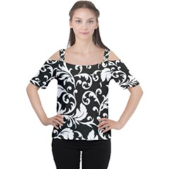 Vector Classicaltr Aditional Black And White Floral Patterns Women s Cutout Shoulder Tee