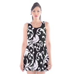 Vector Classicaltr Aditional Black And White Floral Patterns Scoop Neck Skater Dress