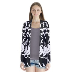 Vector Classicaltr Aditional Black And White Floral Patterns Drape Collar Cardigan