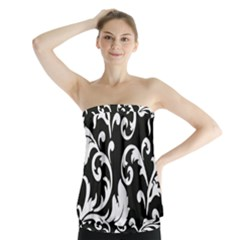 Vector Classicaltr Aditional Black And White Floral Patterns Strapless Top
