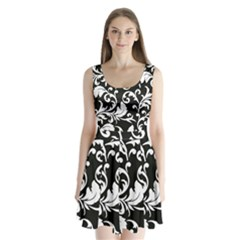Vector Classicaltr Aditional Black And White Floral Patterns Split Back Mini Dress