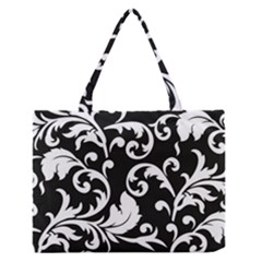 Vector Classicaltr Aditional Black And White Floral Patterns Medium Zipper Tote Bag