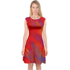 Smudges in Red Capsleeve Midi Dress