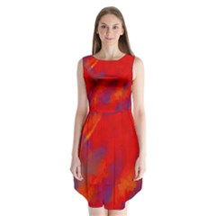 Smudges In Red Sleeveless Chiffon Dress