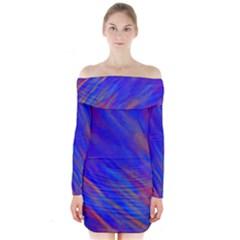 Smudges in Blue Long Sleeve Off Shoulder Dress