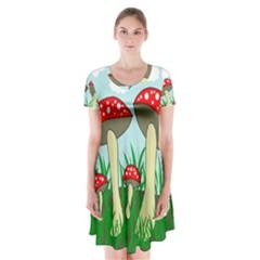 Mushrooms  Short Sleeve V-neck Flare Dress