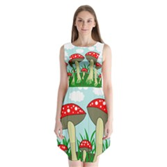 Mushrooms  Sleeveless Chiffon Dress