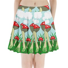 Mushrooms  Pleated Mini Skirt