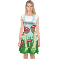 Mushrooms  Capsleeve Midi Dress