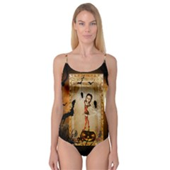 Halloween, Cute Girl With Pumpkin And Spiders Camisole Leotard