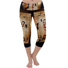 Halloween, Cute Girl With Pumpkin And Spiders Capri Yoga Leggings