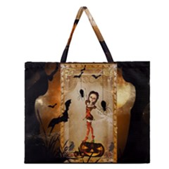 Halloween, Cute Girl With Pumpkin And Spiders Zipper Large Tote Bag