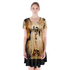 Halloween, Cute Girl With Pumpkin And Spiders Short Sleeve V Neck Flare Dress
