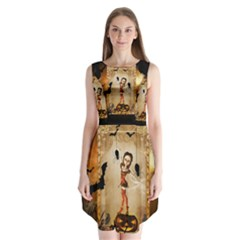 Halloween, Cute Girl With Pumpkin And Spiders Sleeveless Chiffon Dress