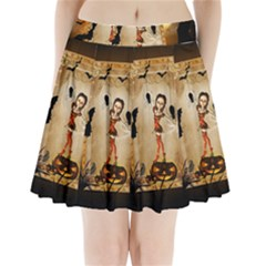 Halloween, Cute Girl With Pumpkin And Spiders Pleated Mini Skirt