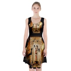 Halloween, Cute Girl With Pumpkin And Spiders Racerback Midi Dress