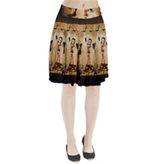 Halloween, Cute Girl With Pumpkin And Spiders Pleated Skirt