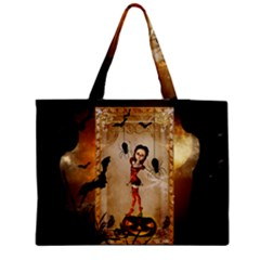 Halloween, Cute Girl With Pumpkin And Spiders Medium Tote Bag