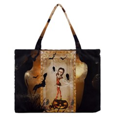 Halloween, Cute Girl With Pumpkin And Spiders Medium Zipper Tote Bag