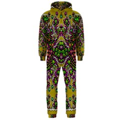 Fantasy Flower Peacock With Some Soul In Popart Hooded Jumpsuit (men)