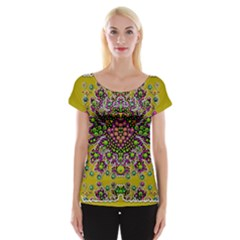 Fantasy Flower Peacock With Some Soul In Popart Women s Cap Sleeve Top