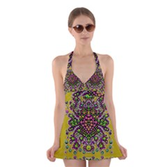 Fantasy Flower Peacock With Some Soul In Popart Halter Swimsuit Dress