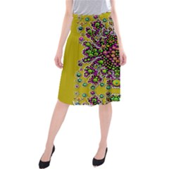 Fantasy Flower Peacock With Some Soul In Popart Midi Beach Skirt