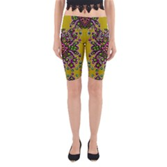 Fantasy Flower Peacock With Some Soul In Popart Yoga Cropped Leggings