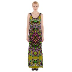 Fantasy Flower Peacock With Some Soul In Popart Maxi Thigh Split Dress