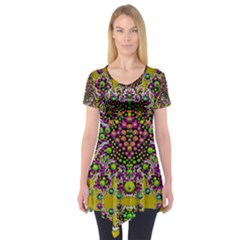 Fantasy Flower Peacock With Some Soul In Popart Short Sleeve Tunic