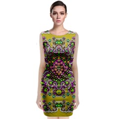 Fantasy Flower Peacock With Some Soul In Popart Classic Sleeveless Midi Dress