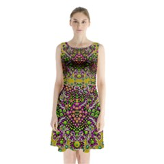 Fantasy Flower Peacock With Some Soul In Popart Sleeveless Chiffon Waist Tie Dress