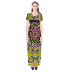 Fantasy Flower Peacock With Some Soul In Popart Short Sleeve Maxi Dress