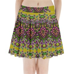 Fantasy Flower Peacock With Some Soul In Popart Pleated Mini Skirt
