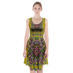 Fantasy Flower Peacock With Some Soul In Popart Racerback Midi Dress