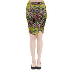 Fantasy Flower Peacock With Some Soul In Popart Midi Wrap Pencil Skirt